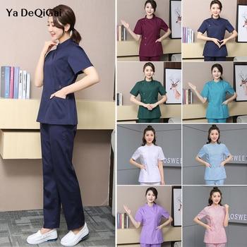 Working scrubs tops+pants Uniforms V-Neck women Beauty Salon workwear Suits pet grooming scrubs work clothes men spa uniforms