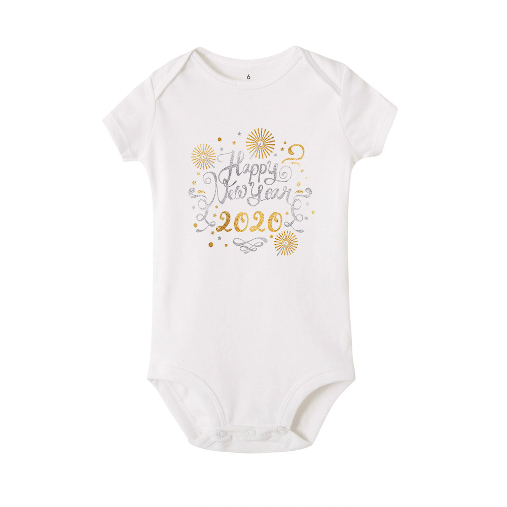 Happy New Years Baby Romper Infant Newborn Girls Boys Short Sleeve Letter Print Romper Casual Clothes New Year Baby Shirt | Happy Baby Mama
