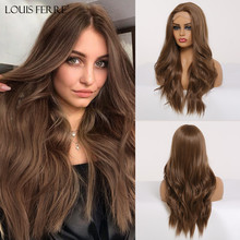 LOUIS FERRE Long Water Wave Brown Lace Front Wigs for Black Woman Afro Cospaly M
