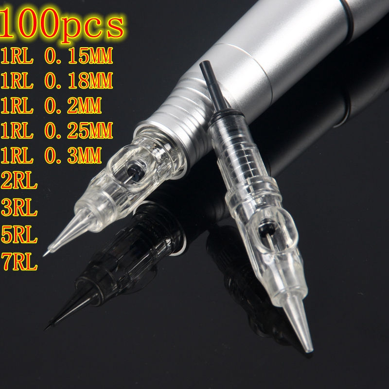 Tattoo Needle 100pcs/lot 1RL Disposable Sterilized Permanent Makeup Cartridge Needles Tips For Eyebrow Lip Agulha Easy Click