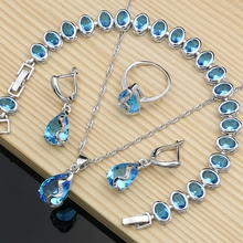 Natural Australian Crystal Stone Silver Color  Jewelry Sets For Women Party Earrings Bracelet Necklace Set Dropshipping water drop wedding jewelry sets bride silver color jewelry accessories bracelet necklace set for women dropshipping