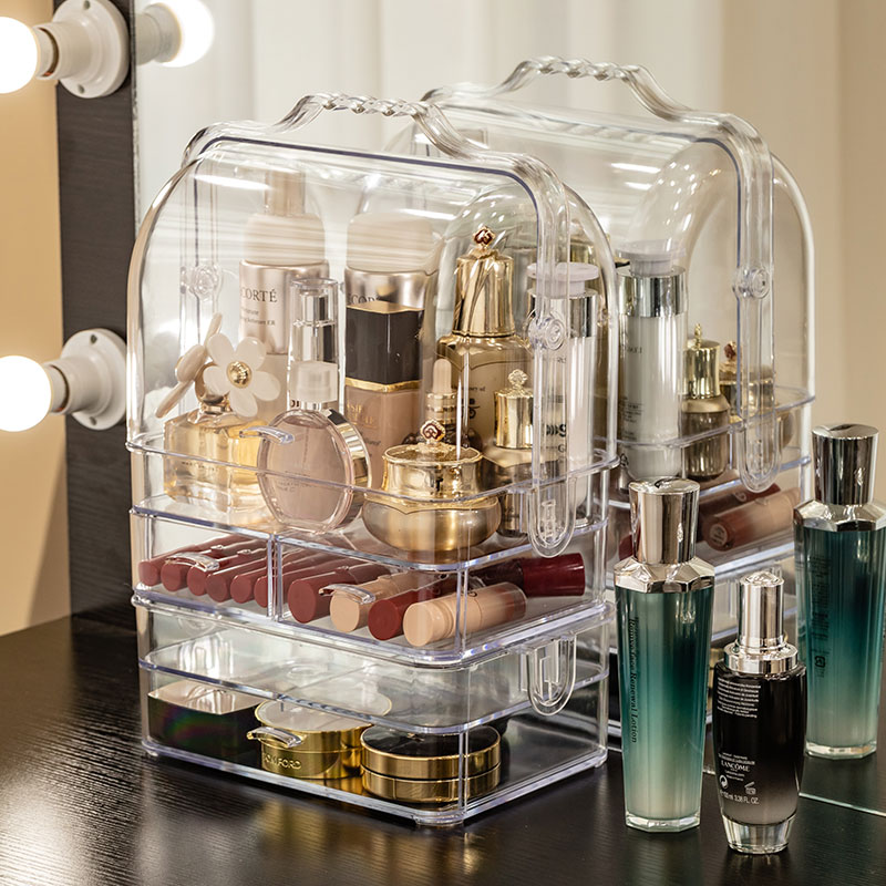 Acrylic Makeup Organizer Clear Cosmetic Jewelry Storage Box Double Open Cover Women Cosmetic Storage Drawer Desktop Make Up Case