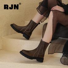 Rjn/женские ботильоны черного цвета из натуральной кожи с круглым