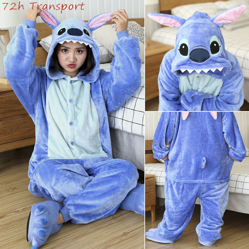 Kigurumi Winter Stitch Pajamas Adults Unicorn Animal Sleepwear Totoro Onesies Unisex Flannel Nightie Female Home Clothes Sets