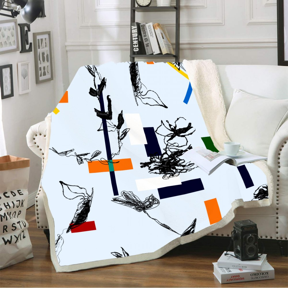 New Geometric Pattern Throw Colorful Microfiber Blanket Fleece Sherpa Warm Blanket for Couch Bed Sofa 3D Print Home Blanket