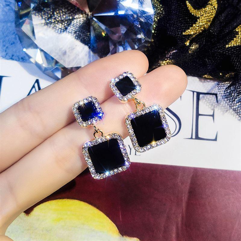 Boucles d'oreilles 2019 noir carré géométrique boucles d'oreilles pour femmes cristal de luxe mariage strass boucle d'oreille couleur or EB447 5