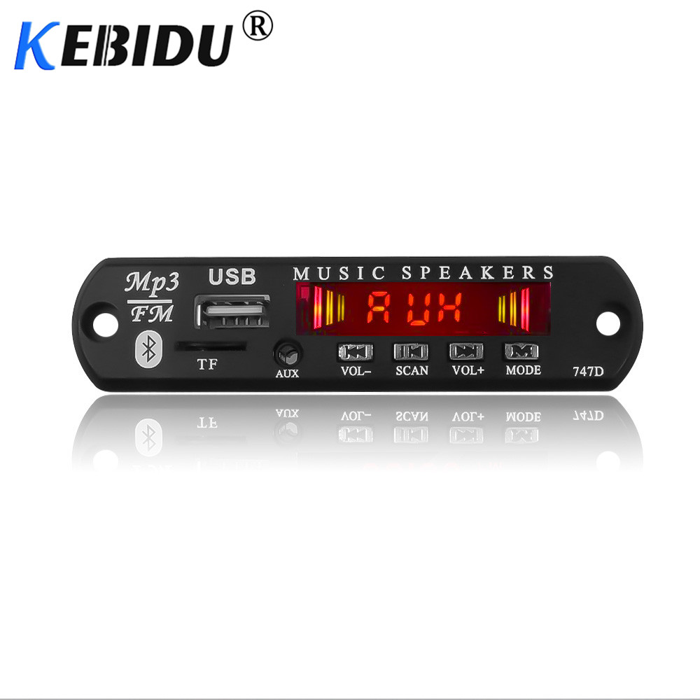 Kebidu 5V 12V <font><b>Bluetooth</b></font> <font><b>MP3</b></font> WMA Decoder Board Wireless Audio <font><b>Modul</b></font> USB TF Radio Für Auto Zubehör Farbe screen Audio-<font><b>Player</b></font> image