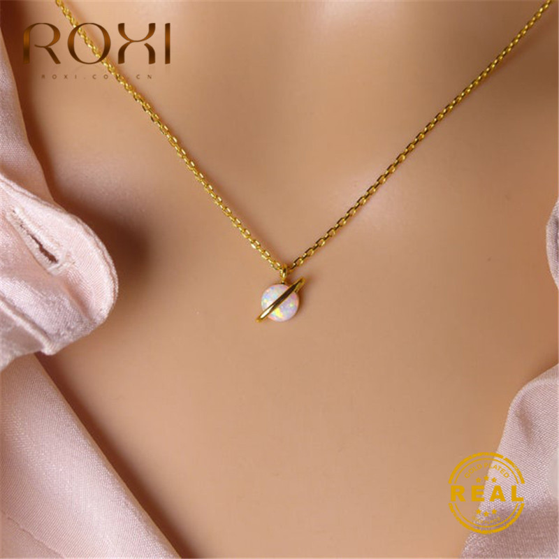 ROXI Fashion Korean Space Planet Pendant Necklace Women Trend Jewelry White Fire Opal Necklace Choker Clavicle Chain Necklace