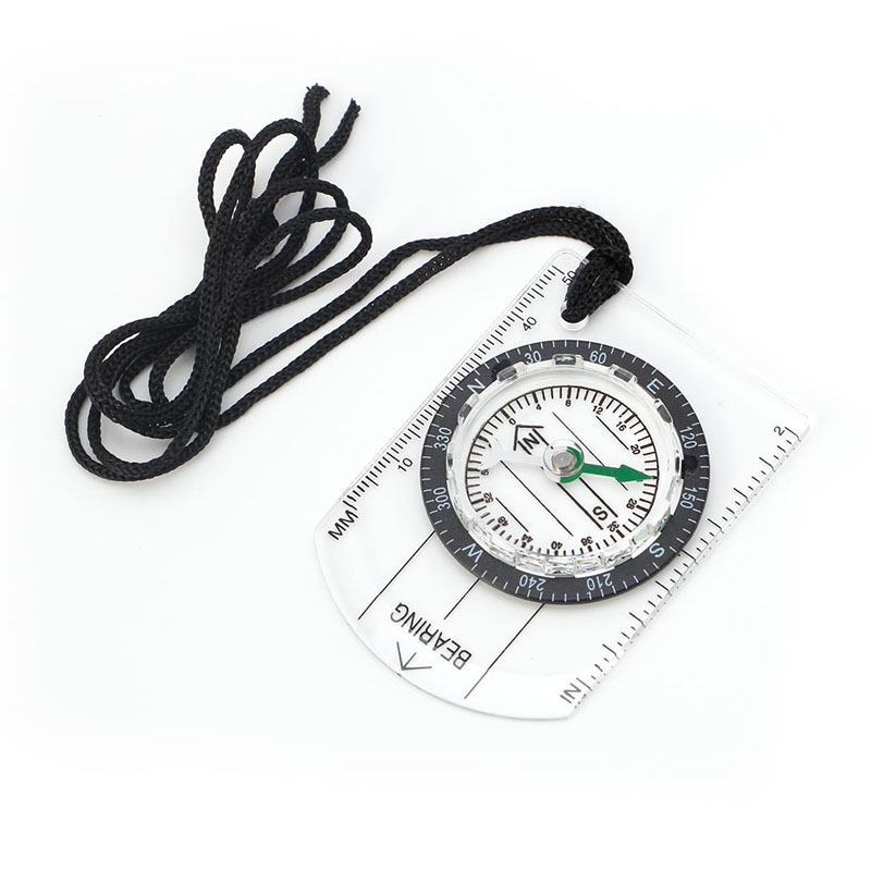 All In 1 Hiking Camping Outdoor Baseplate Compass Map MM INCH Measure Ruler Mini Drop Ship