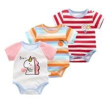 Bebê recém-nascido meninos meninas curto sleeevd bodysuit algodão saco fart macacão infantil dos desenhos animados do bebê verão urso fino triângulo roupas