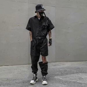 Mężczyźni lato wymienny nogi Hip Hop z krótkim rękawem kombinezon w stylu Casual spodnie Cargo męskie Streetwear kombinezony kombinezon spodnie haremowe luźne