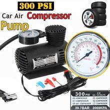 1PC 12V 300PSI Auto portatile Mini compressore daria elettrico Kit per palla bicicletta policar gonfiatore pompa accessori Auto