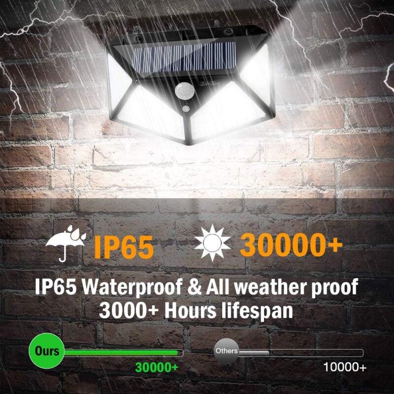 4Pcs 100 LED Solar Light PIR Motion Sensor Wall Lights Solar Powered Sunlights for home Garden Decoration Outdoor Solar Lamp NEW