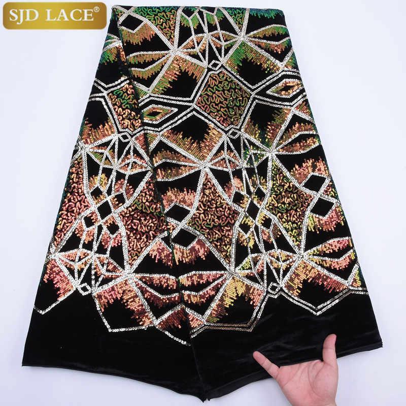 Yeni nijeryalı kadife dantel kumaş renk Sequins afrika dantel kumaş yumuşak streç kadife dantel gana düğün elbisesi A1767