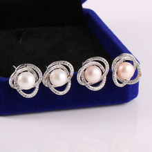 High Quality Pearl Stud Earrings Fine Jewelry Diamonds Flower Shape Freshwater Nature Pearls for Women Gift