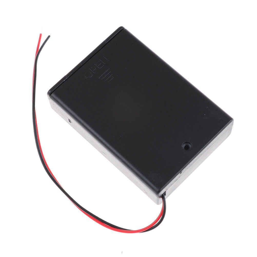 1 قطعة 3 X AA 4.5 فولت صندوق بطارية حامل بلاستيك مع سلك مع مفتاح وغطاء