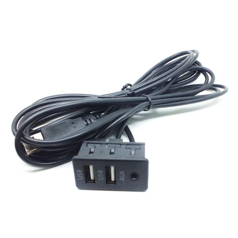 1.5M Car Dash Flush Mount AUX USB Port Panel Dual USB Extension Cable Adapter