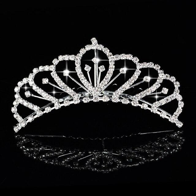 Korona księżniczki dla dziewczynek prezent urodzinowy Diadem Diadem posrebrzana kryształowa kwiatowa ślubna akcesoria ślubne na włosy akcesoria na głowę