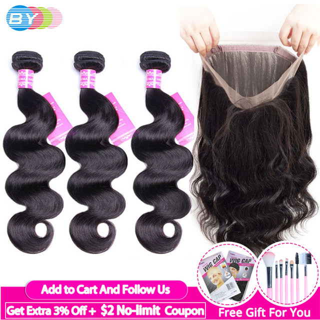 $ US $47.13 [BY] 360 Frontal With Bundles Brazilian BodyWave Bundles With Frontal Closure Human Hair Lace Frontal Closure With Bundles Remy