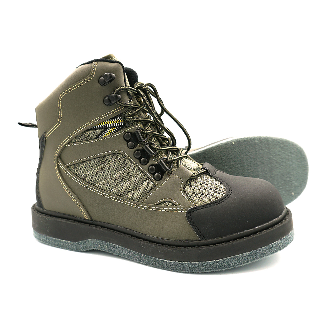Mens Wading Boots Felt Outsole Fishing Shoes Non Slip Fishing Boots For Men Fly Fishing Waders
