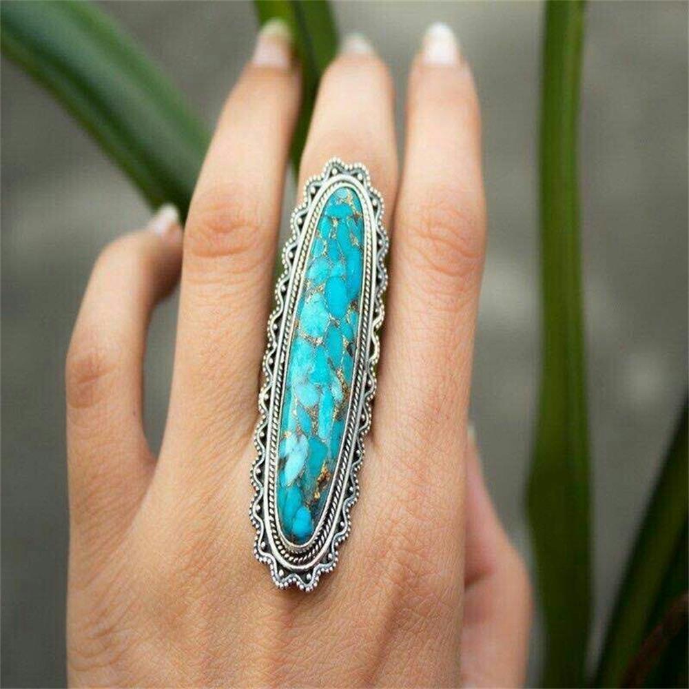 Kreative Indischen Stil Grün Türkis Ring Frauen Männer Großen Blauen Vintage Finger Ring Schmuck Grün Kiefer Stein Ring