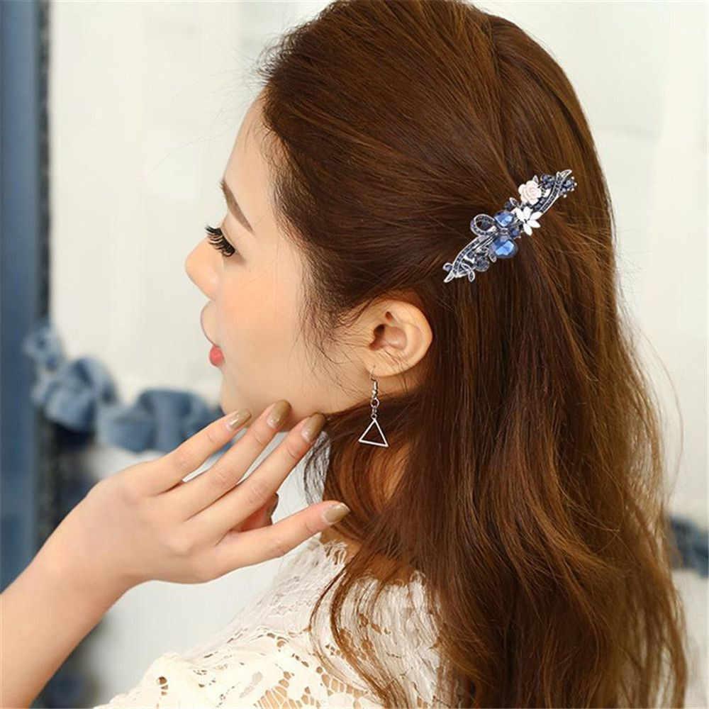 1 PC Jepit Rambut Dekoratif Kristal Temperamen Bulang Rambut Aksesoris Spring Klip Rambut Klip untuk Wanita Gadis