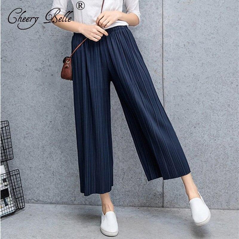 New Summer Womens Pants 2020 Fashion Wide Leg Pants Chiffon Pant Girl Drape Loose Silk Pants