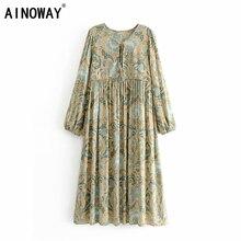 Vintage chic kobiety paw kwiatowy nadruk koronka plaża czeski rayon Midi sukienka damska dekolt w szpic sukienka Boho vestidos