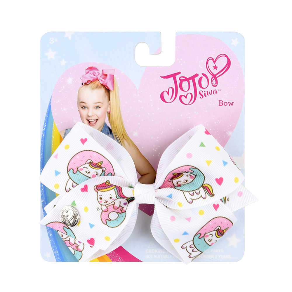 4.5 inch JoJo Bows Jojo Siwa Rainbow Printed Knot Ribbon Bow For Girls Handmade Boutique Hair Clip Children Hair Accessories