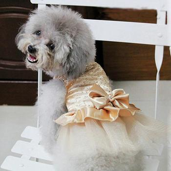 Luxury Princess Wedding Dog Dresses for Small Dogs Sequin Shirt Summer Dress Dog Clothes for Chihuahua Girl Puppy Apparel image