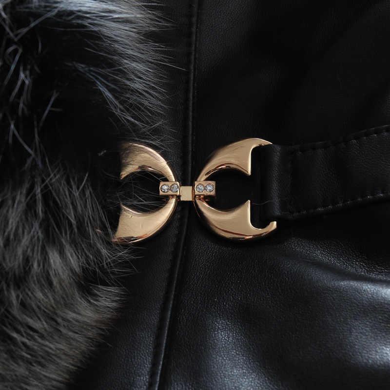 ジャケット革本物のキツネの毛皮の襟 100% 本物の羊皮冬のジャケットの女性暖かいパーカーチャケータ Mujer MY4056