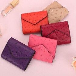 Женский короткий кошелек из натуральной страусиной кожи на заказ, новые модные кошельки для монет для женщин, роскошный клатч, сумка для тел...