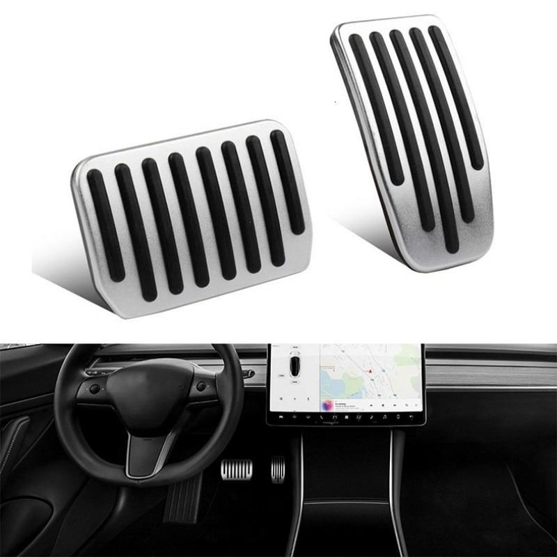 Plaquettes de pied en alliage daluminium | Pour Tesla modèle 3 accélérateur, frein de carburant de gaz, plaquettes de pédale, tapis de couverture, accessoires de style de voiture