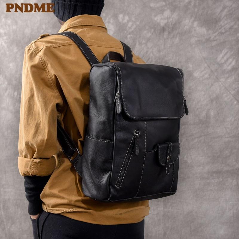PNDME casual designer luxury genuine leather men's women's laptop backpack outdoor travel black soft cowhider bookbag schoolbag