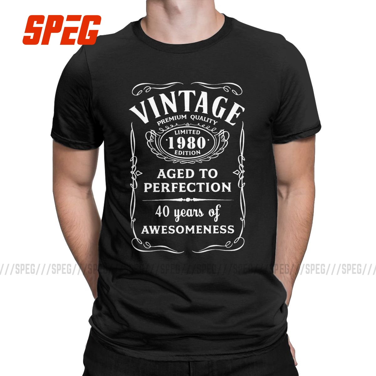 Vintage Limited 1980 Edition T Shirt for <font><b>Men</b></font> Cotton 40 Years Old T-Shirts Crewneck <font><b>40th</b></font> <font><b>Birthday</b></font> Gift <font><b>Idea</b></font> Tee Short Sleeve Tops image