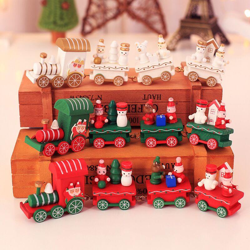 Wooden Christmas Xmas Train Decoration For Home With Box Santa Bear Tree Xmas Small Toy Train Set Kid Toys Gifts Xmas Home Decor