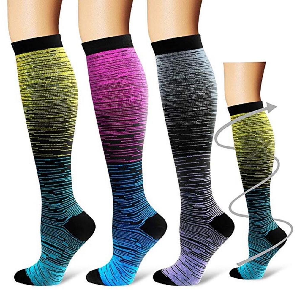 Outdoor Sports Compression Socks Unsex Sports Long Socks Knee Gradient Printed Polyester Nylon Hosiery Footwear Accessories New
