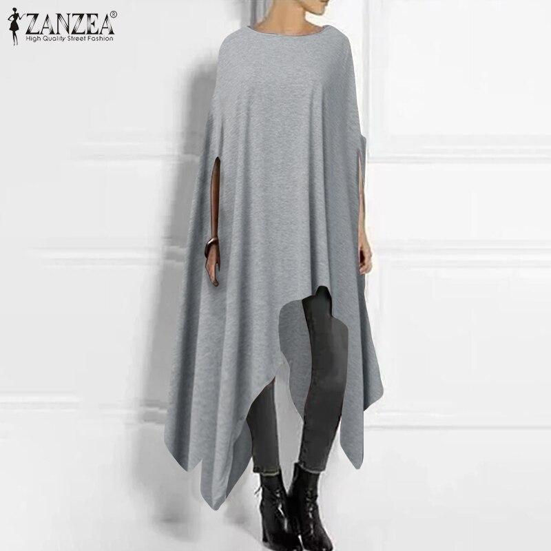 2019 ZANZEA Women Poncho Blouse Fashion Half Sleeve Asymmetrical Pullover Casual Female O Neck Pullovers Plus Size Outwear Cape