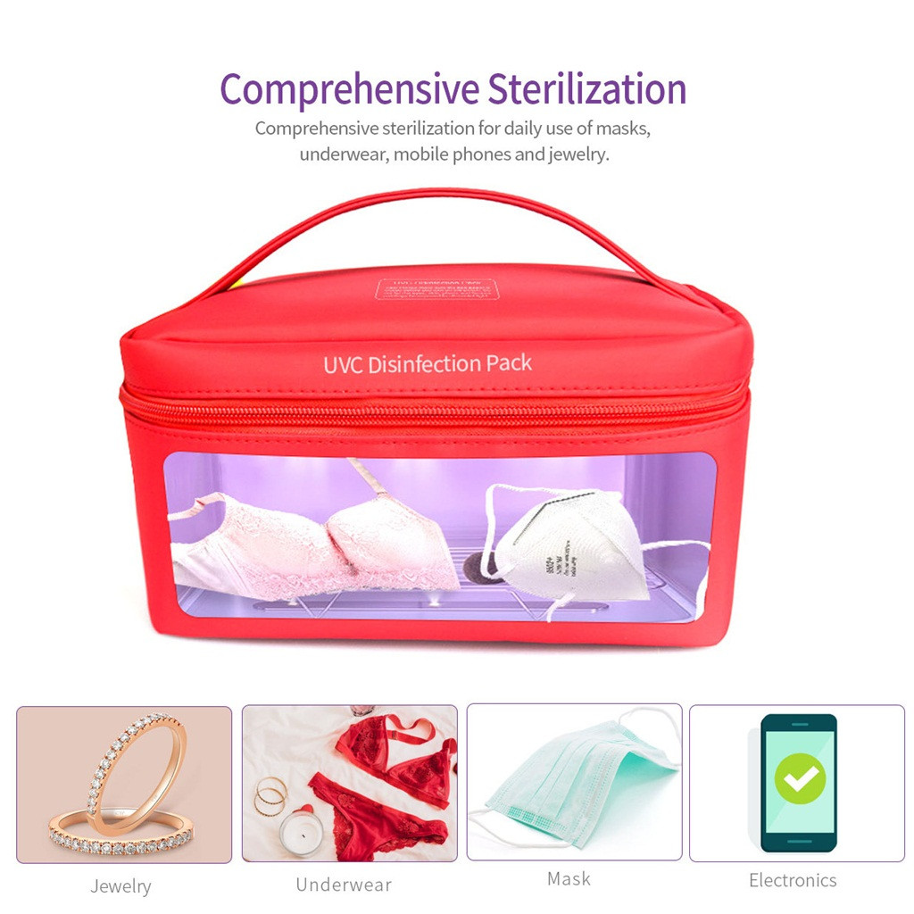 Outdoor Tools Bag For Mask Phone Watch Feeding Bottle Towels Cleaner Storage Portable Led Disinfection Bag Usb Interface#T30