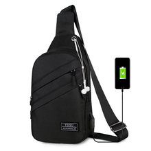 USB Charging Shoulder Bag for men Outdoor men's Oxford chest Bags casual waterproof diagonal bag Male Messenger Bags 2020 Hot(China)