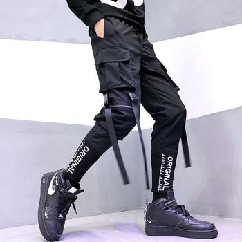 Fashion Men Hip-Hop Pants Streetwear Ribbon Men's Overalls Leisure Pocket Elastic Waist Trousers Sweatpants - discount item  45% OFF Pants