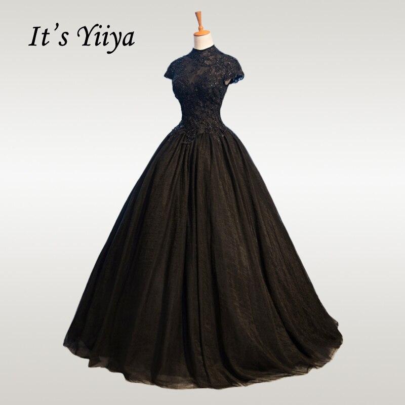 It's YiiYa Wedding Dress 2019 High Neck Beading Lace Black Wedding Dresses Elegant Plus Size Crystal Long Vestido De Novia CH057