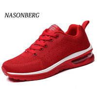 NASONBERG Breathable Soft Men Casual Shoes Height Increasing Non slip Sneakers Men Red Shoes Woman Massage Men Shoes
