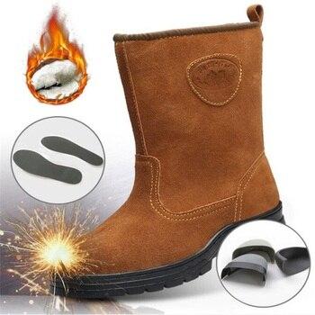 Autumn Winter Plush Warm Suede Safety Boots Men Steel toe Anti-crush Anti-piercing Wear-resistance Work Shoes Excellent grip