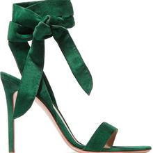Супертонкие женские классические сандалии зеленые пикантные
