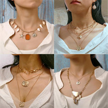 X-ROYAL European Boho Vintage Style Fashion Classic Irregular Multi Layer Geometric Pendant Women Necklaces Collar Chain Chokers