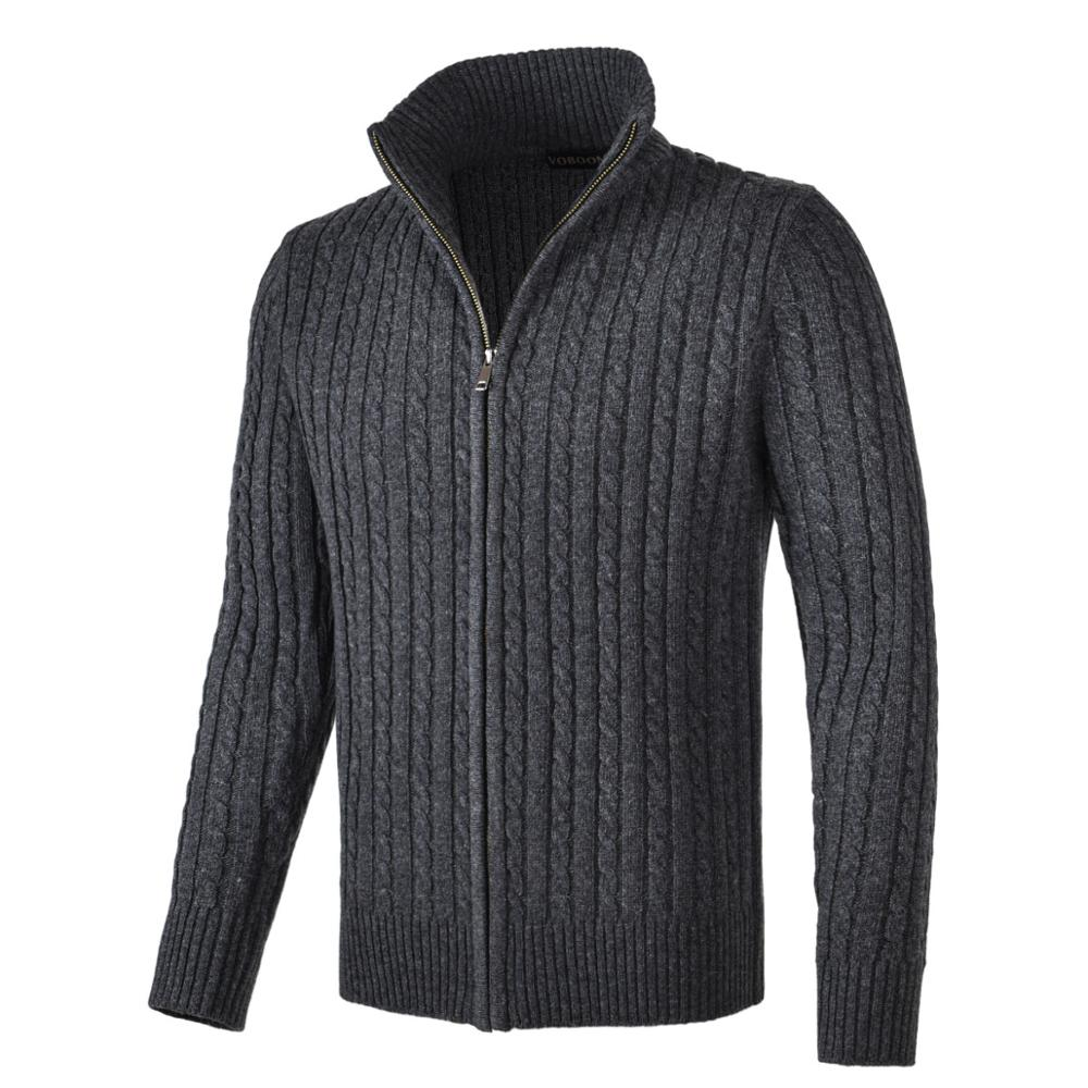 VOBOOM Full Zipper Cardigan Mens  Wool Blend Fisherman Sweater Mock Neck Long Sleeve Sweaters With Ribbing Edge 190