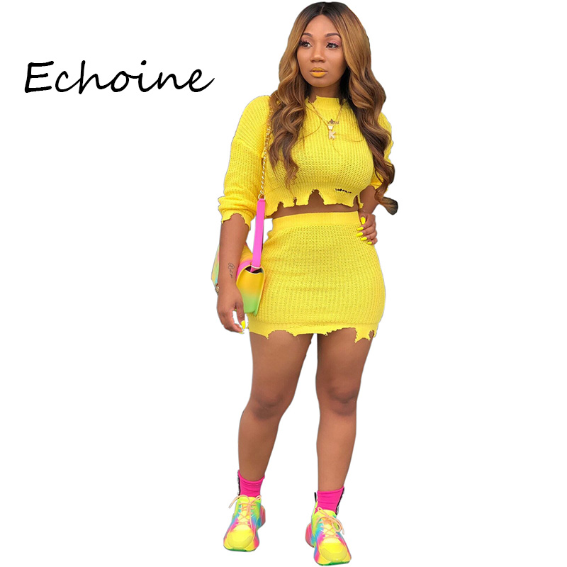 Echoine Fashion Two Pieces Set Hollow Out O-neck Long Sleeve Crop Top + Mini Dress Solid Color Tracksuit Women Outfits 5 Color