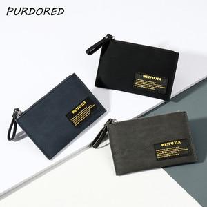 PURDORED 1 Pc Slim Men Card Holder Zipper ID Card Holder Candy Color Bank Credit Card Gift Box Multi Slot Mini Card Case Wallet