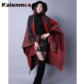 Blanket Scarf Fall Winter Thick Wrap Poncho Women Plaid Travel Shawl Imitation Cashmere Capes National Wind Fork Thicker Cloak 8
